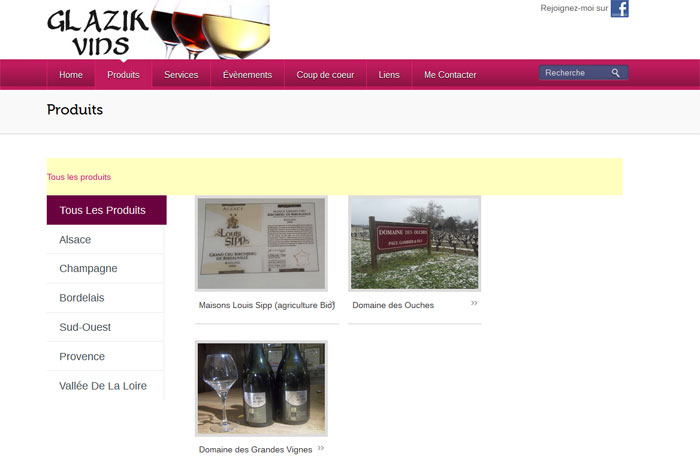 Glazik Vins - Page Produits